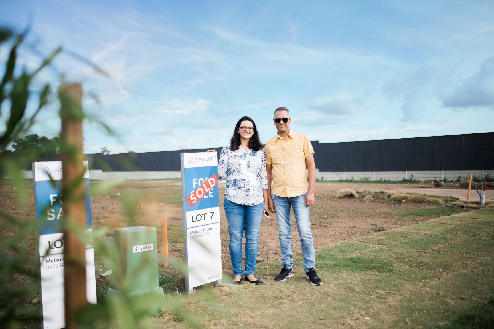 First home buyers on their block of land at Element, Griffin